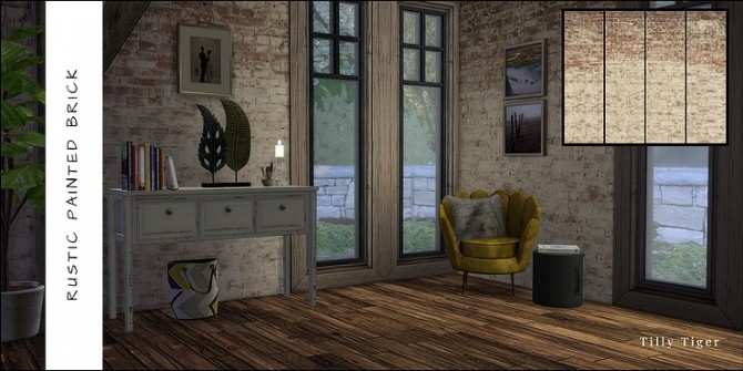 Rustic brick wall murals by Tilly Tiger at Blooming Rosy image 469 670x335 Sims 4 Updates
