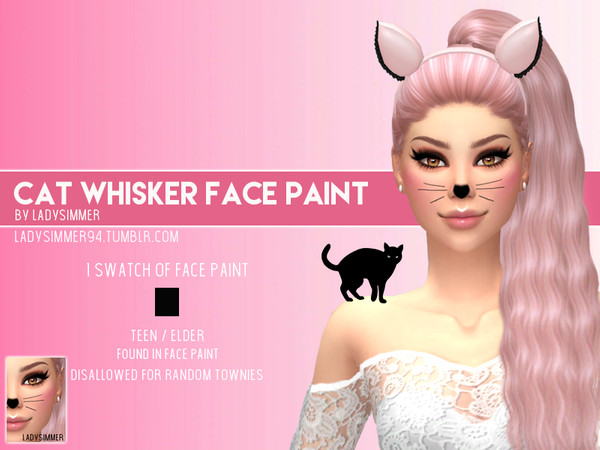 Cat Whisker Face Paint by LadySimmer94 at TSR image 470 Sims 4 Updates