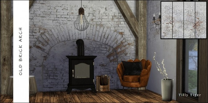 Rustic brick wall murals by Tilly Tiger at Blooming Rosy image 479 670x333 Sims 4 Updates