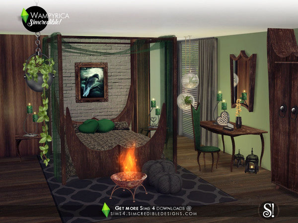 Wampyrica gothic style bedroom by SIMcredible at TSR image 4814 Sims 4 Updates