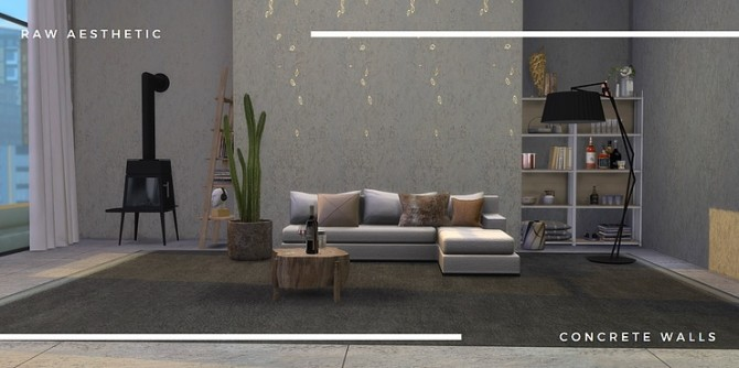 Raw aesthetic concrete walls by Tilly Tiger at Blooming Rosy image 4910 670x334 Sims 4 Updates