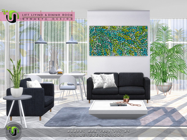 Sims 4 Lift Dining and Living Room by NynaeveDesign at TSR