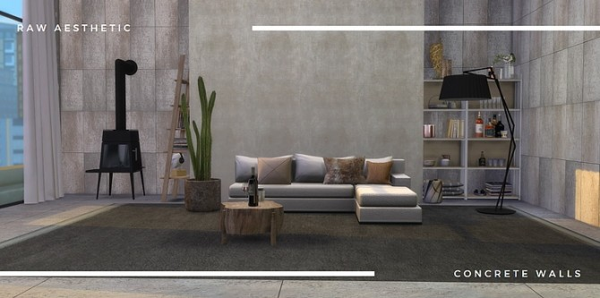 Raw aesthetic concrete walls by Tilly Tiger at Blooming Rosy image 5010 670x333 Sims 4 Updates