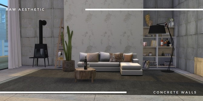 Raw aesthetic concrete walls by Tilly Tiger at Blooming Rosy image 5114 670x334 Sims 4 Updates