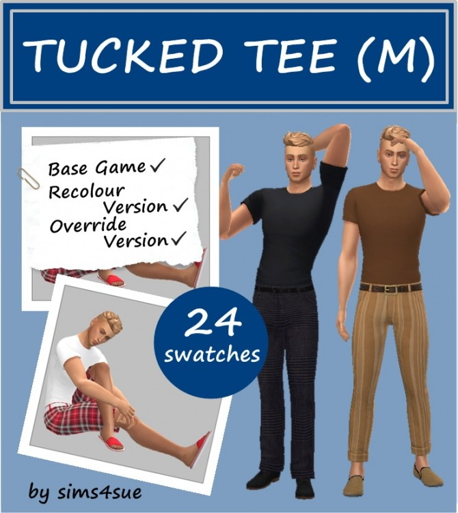 BASE GAME TUCKED TEE M at Sims4Sue image 5118 670x750 Sims 4 Updates