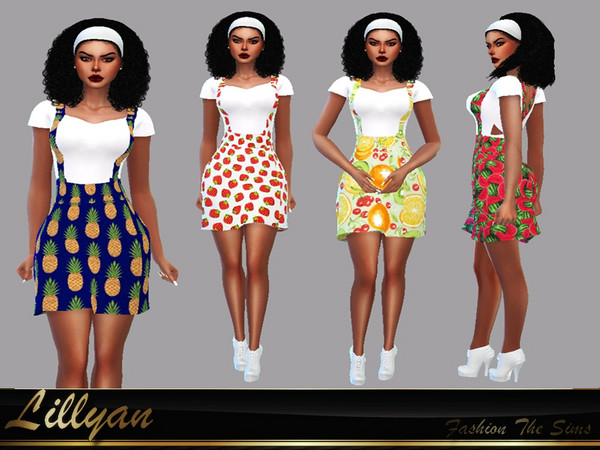Sims 4 SKIRT OVERALLS CHARMING by LYLLYAN at TSR
