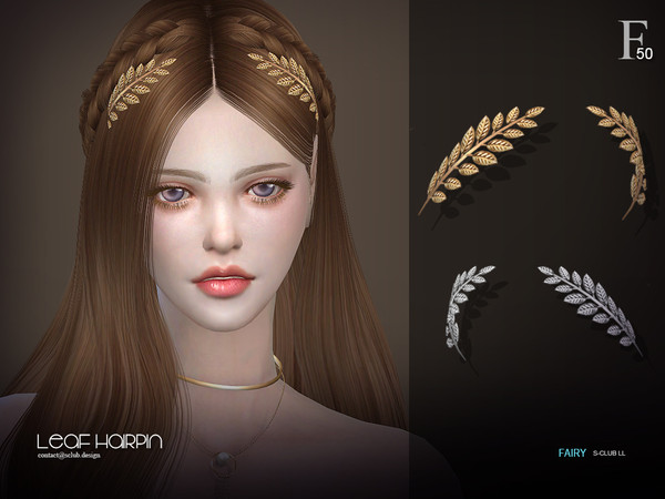 Sims 4 Leaf hairpin by S Club at TSR
