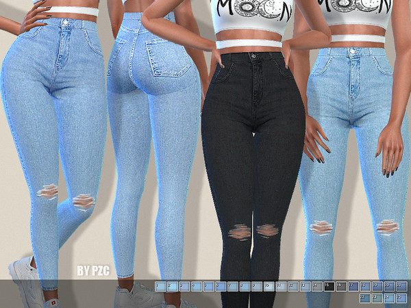 High Waisted Soft Denim Jeans by Pinkzombiecupcakes at TSR image 5414 Sims 4 Updates