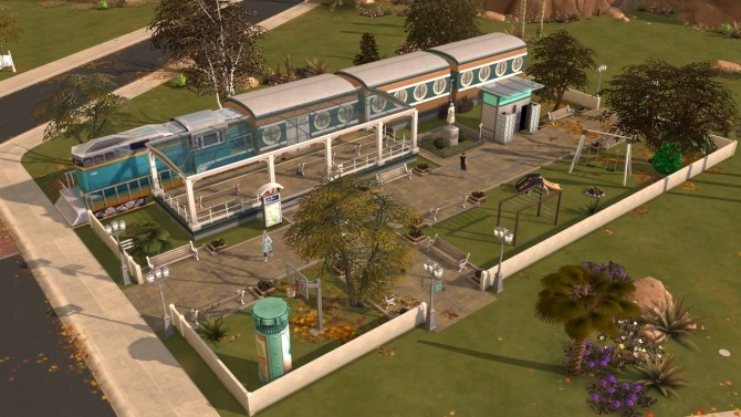 Sims 4 Oasis springs express train restaurant at Fab Flubs