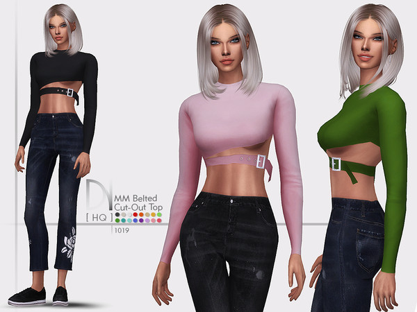 Sims 4 MM Belted Cut Out Top by DarkNighTt at TSR
