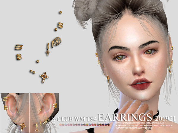 Sims 4 EARRINGS 201921 by S Club WM at TSR