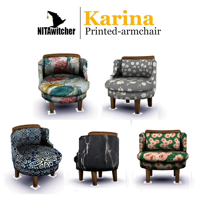 KARINA printed armchair at NITA image 588 Sims 4 Updates