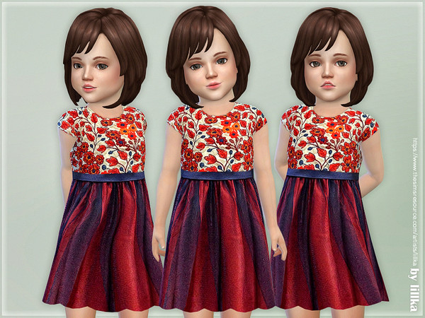 Red & Navy Daisies Embroidered Dress by lillka at TSR image 598 Sims 4 Updates