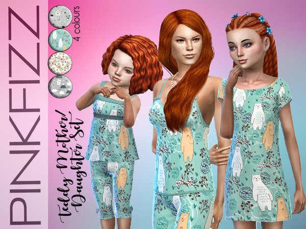 Sims 4 Teddy Mother/Daughter Set by Pinkfizzzzz at TSR