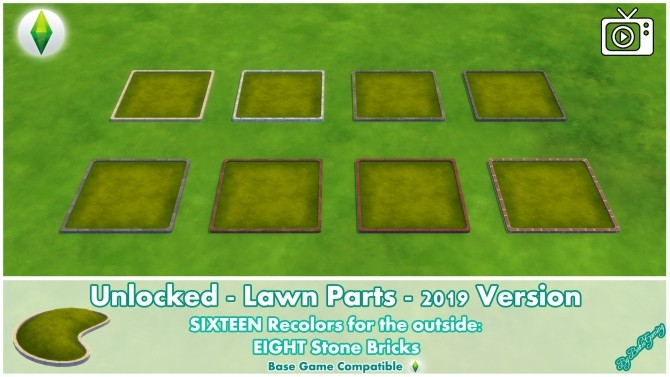 Sims 4 Unlocked Lawn Parts 2019 version by Bakie at Mod The Sims