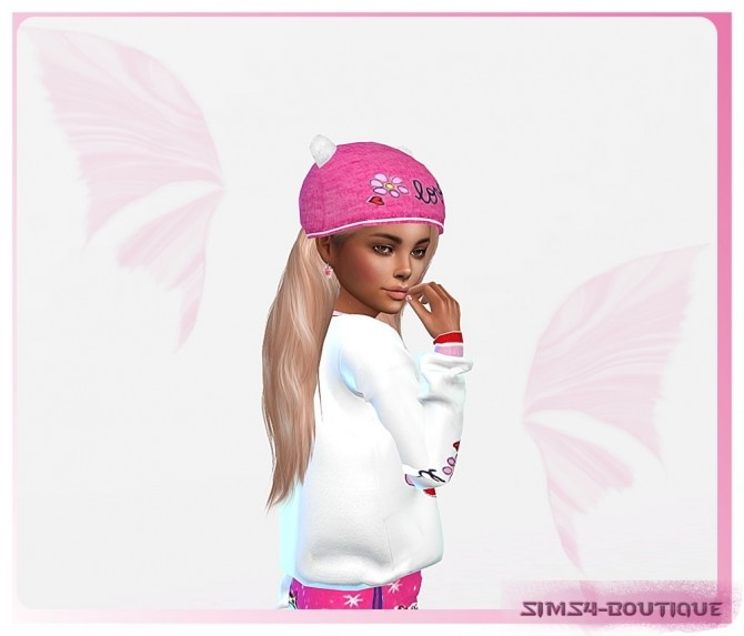 Sims 4 Designer Set for Girls: Pants, Shirt & Hat at Sims4 Boutique