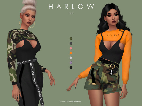 Sims 4 HARLOW top by Plumbobs n Fries at TSR