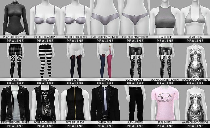 Sims 4 All clothes and stockings compiled at Praline Sims
