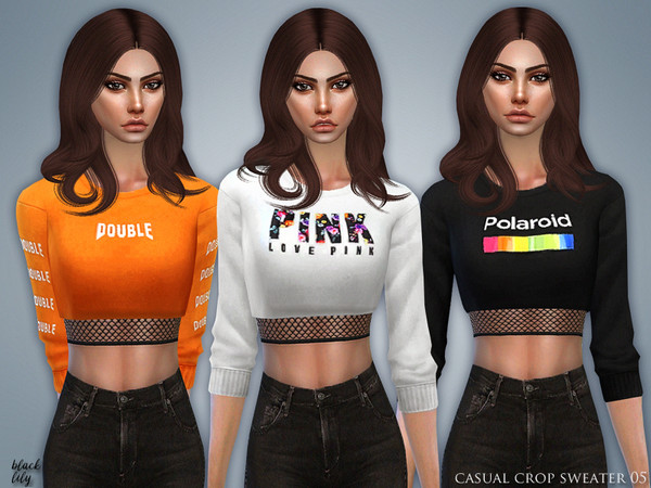 Sims 4 Casual Crop Sweater 05 by Black Lily at TSR