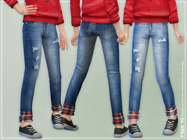 Red Plaid Crop Jeans by lillka at TSR image 724 Sims 4 Updates