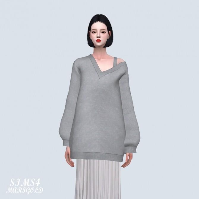 Sims 4 V neck Loose fit Long Sweatshirts (P) at Marigold