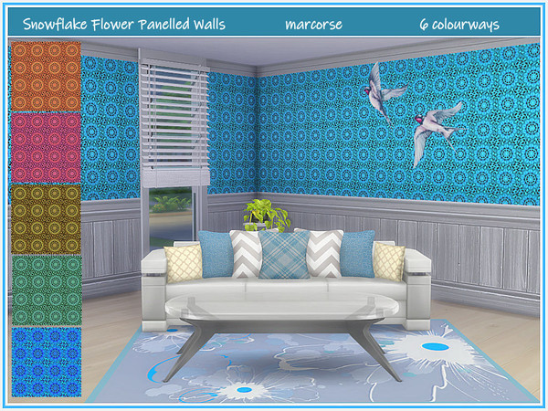 Sims 4 Snowflake Flower Panelled Walls by marcorse at TSR