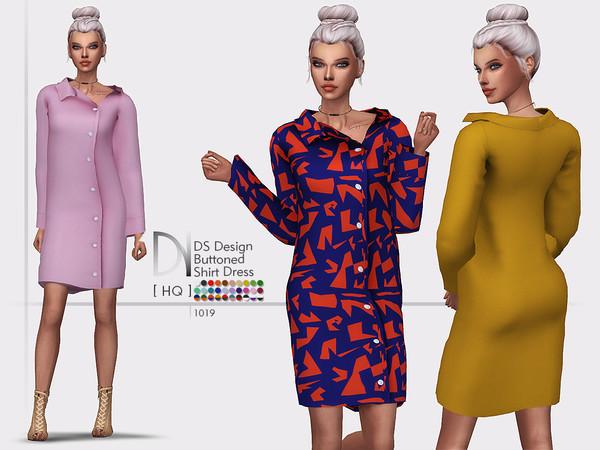Sims 4 DS Design Buttoned Shirt Dress by DarkNighTt at TSR