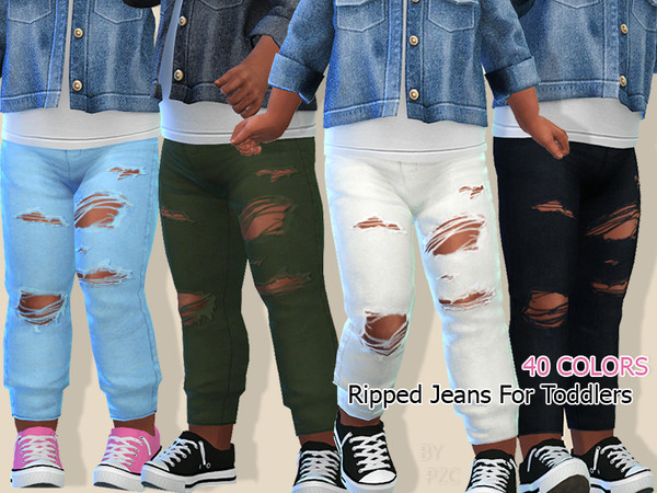 Ripped Jeans For Toddlers by Pinkzombiecupcakes at TSR image 7918 Sims 4 Updates