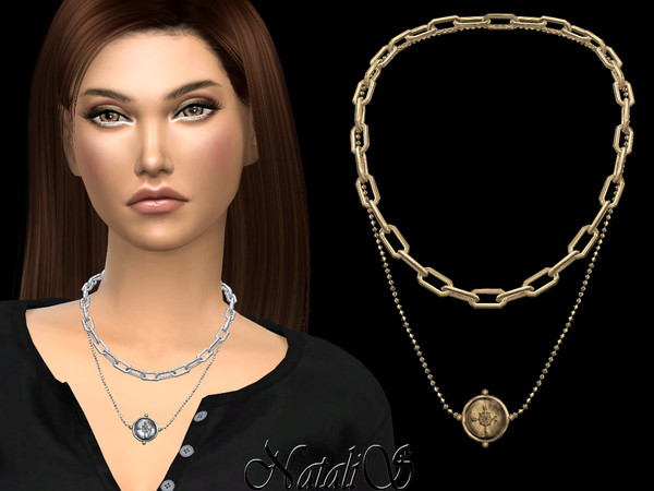 Sims 4 Compas coin layered necklace by NataliS at TSR