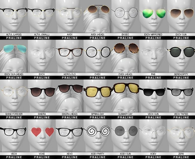 Sims 4 Ultimate collection 28 glasses at Praline Sims