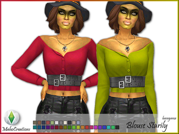 Sims 4 Blouse Starily by MahoCreations at TSR