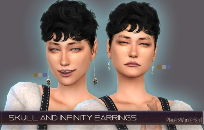 Skull and infinity earrings at PW's Creations image 865 670x428 Sims 4 Updates