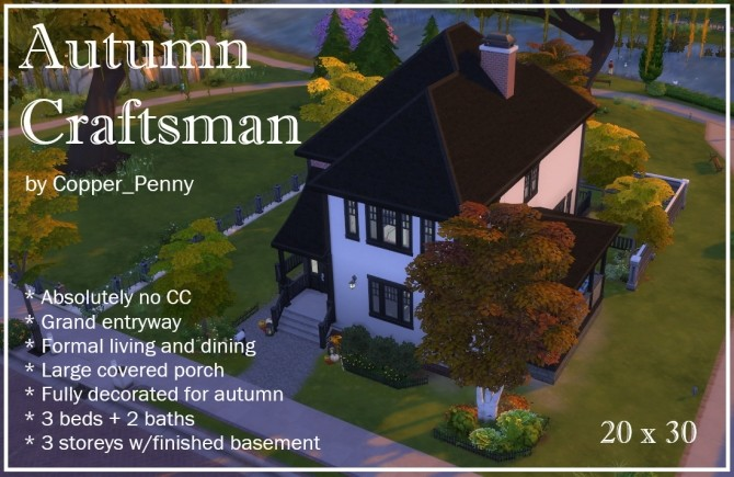 Autumn Craftsman house by Copper Penny at Mod The Sims image 886 670x435 Sims 4 Updates