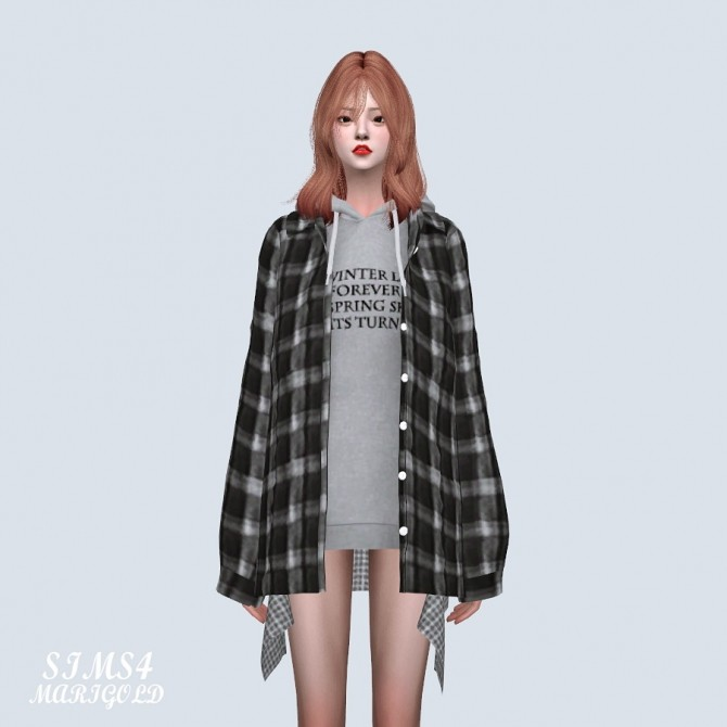 Loose fit Shirts With Hoodie (P) at Marigold image 8911 670x670 Sims 4 Updates