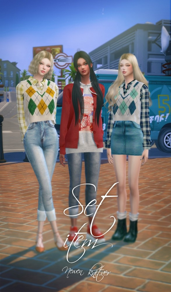 Hoodie With Cardigan, Shirt With Vest, Roll Up Jeans & Denim Skirt at NEWEN image 895 586x1000 Sims 4 Updates