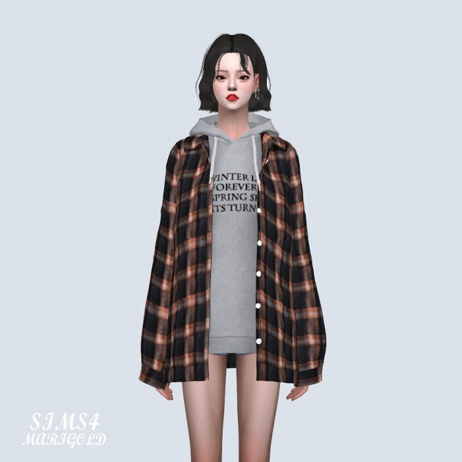 Loose fit Shirts With Hoodie (P) at Marigold image 9010 670x670 Sims 4 Updates