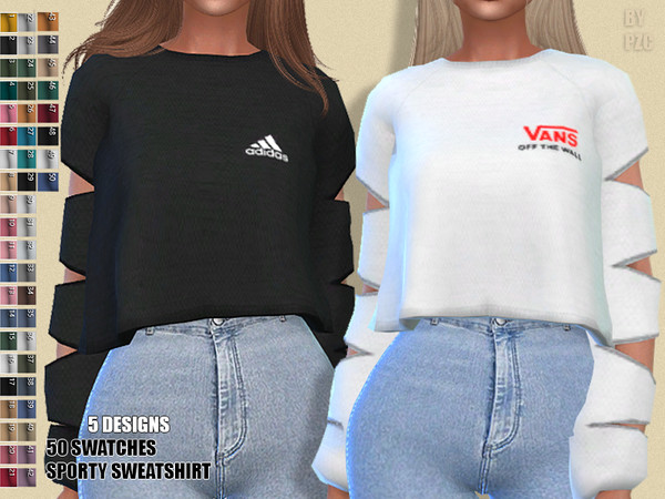 Sims 4 Sporty Sweatshirt by Pinkzombiecupcakes at TSR