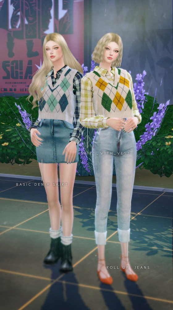 Hoodie With Cardigan, Shirt With Vest, Roll Up Jeans & Denim Skirt at NEWEN image 904 560x1000 Sims 4 Updates