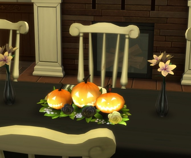 Sims 4 Tiny Pumpkins Table Centerpiece by therealmofsimblr at Mod The Sims