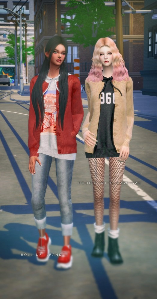Hoodie With Cardigan, Shirt With Vest, Roll Up Jeans & Denim Skirt at NEWEN image 917 524x1000 Sims 4 Updates