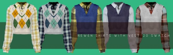 Hoodie With Cardigan, Shirt With Vest, Roll Up Jeans & Denim Skirt at NEWEN image 933 670x213 Sims 4 Updates
