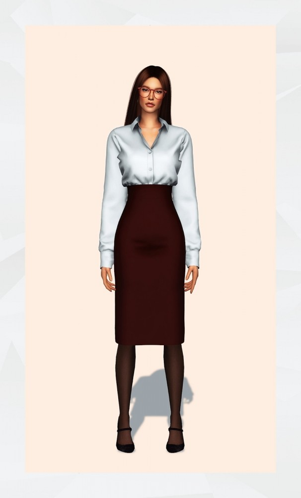 Sims 4 Office Shirt & Skirt at Gorilla