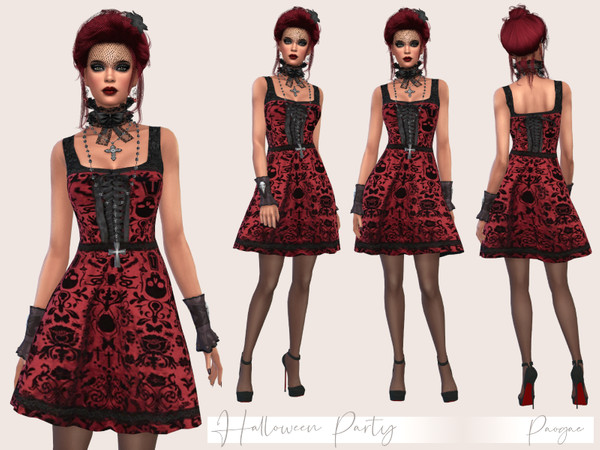 Sims 4 Halloween Party dress by Paogae at TSR
