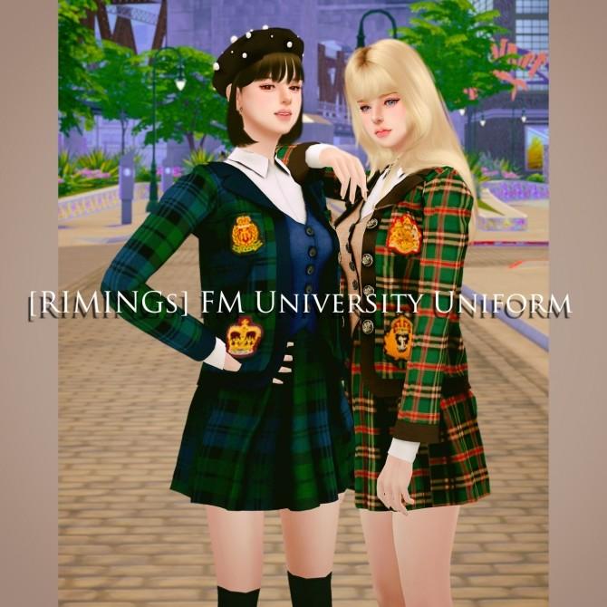 Sims 4 FM University uniform at RIMINGs