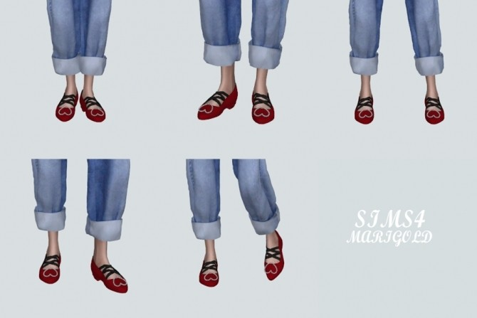 Sims 4 Heart Flat Shoes With X Strap (P) at Marigold