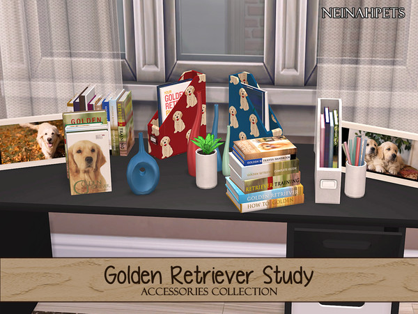 Sims 4 Golden Retriever Study Accessories Collection by neinahpets at TSR