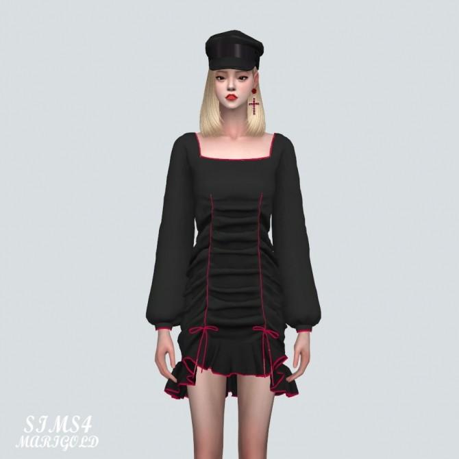 Square Neck Shirring Frill Mini Dress (P) at Marigold image 10716 670x670 Sims 4 Updates