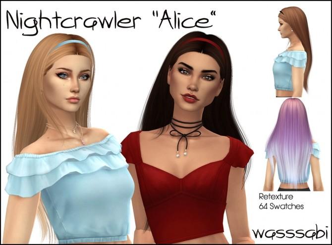 Sims 4 Nightcrawlers Alice hair retextured at Wasssabi Sims