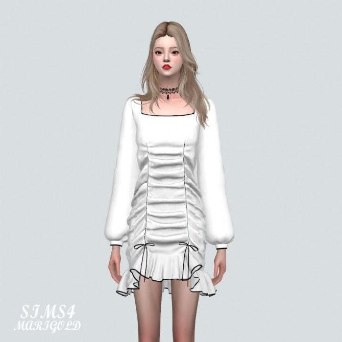 Square Neck Shirring Frill Mini Dress (P) at Marigold image 10815 670x670 Sims 4 Updates