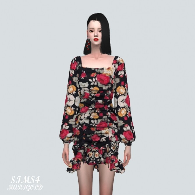 Square Neck Shirring Frill Mini Dress (P) at Marigold image 10916 670x670 Sims 4 Updates